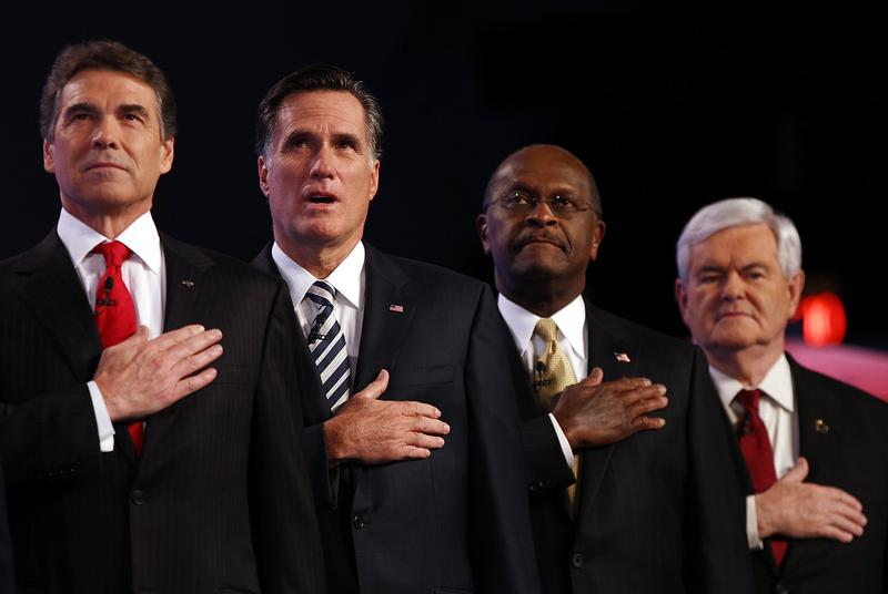 Texas Gov. Rick Perry, Gov. Mitt Romney, Herman Cain and former Speaker of the House Newt Gingrich.