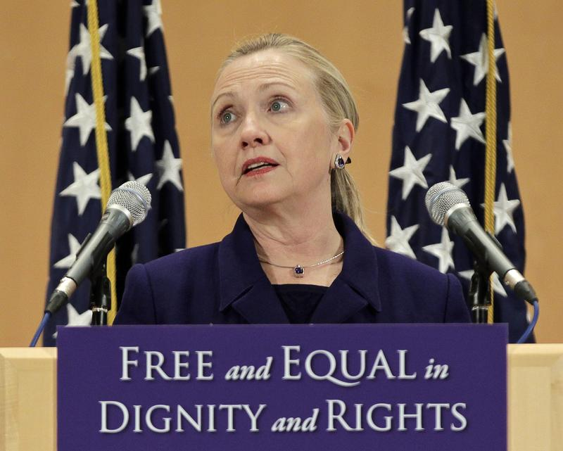 Secretary of State Hillary Clinton defends the rights of lesbian, gay, bisexual, and transgender people during the International Human Rights Day at the United Nations in Geneva on December 6, 2011.