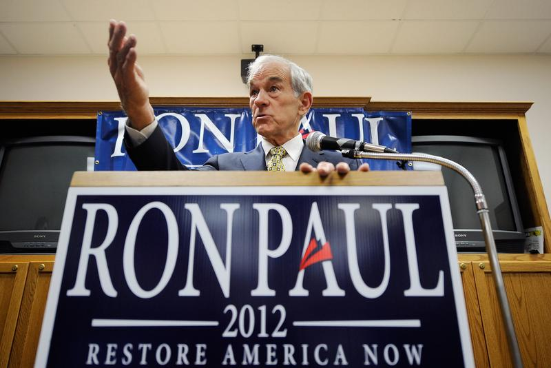 Ron Paul speaks during a campaign stop in Boone, Iowa.
