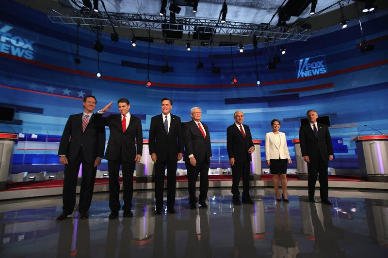 Republican presidential candidates at Fox News debate in Sioux City, Iowa.