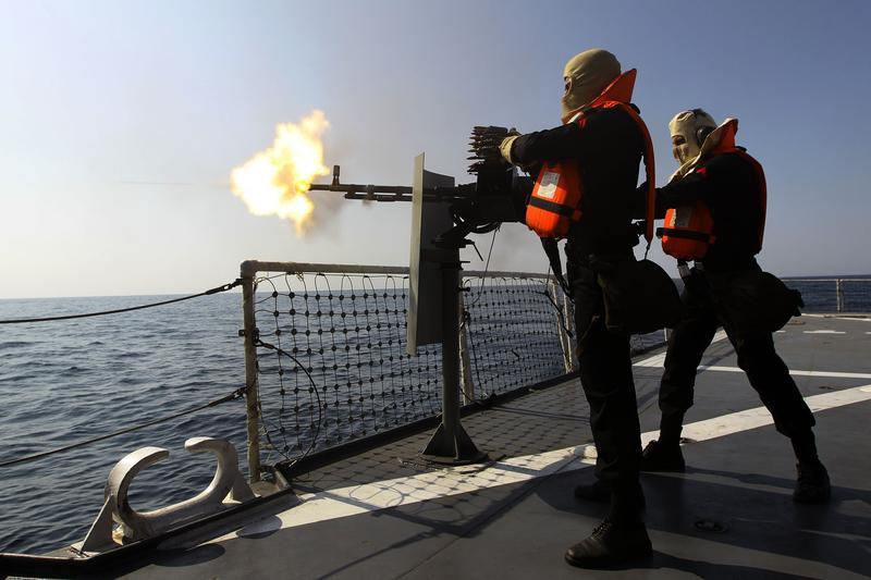 Iranian navy conducts the 'Velayat-90' naval wargames in the Strait of Hormuz in southern Iran on January 1, 2012.