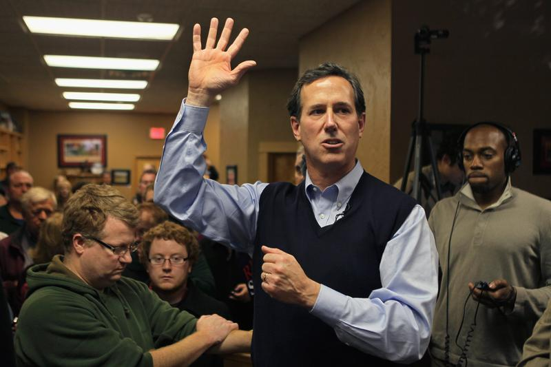 Rick Santorum speaks during a campaign stop in Sioux City, Iowa.