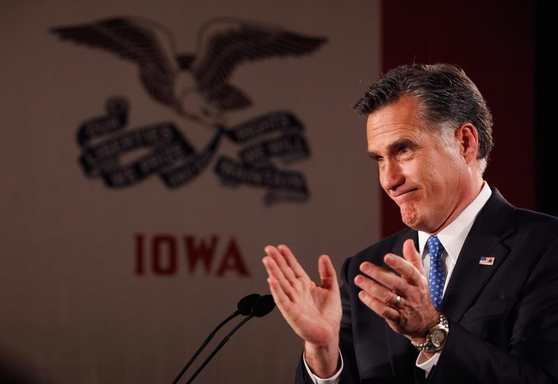 Mitt Romney speaks at the Hotel Fort Des Moines on the night of the Iowa Caucuses.