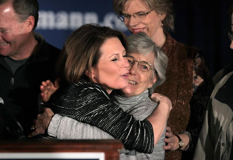 Michele Bachmann hugs her mother Jean LaFave after announcing during a news conference she is ending her campaign.