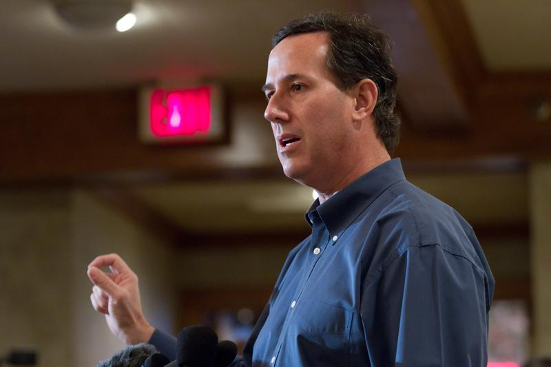 Rick Santorum speaks at a Rotary Club breakfast in Manchester New Hampshire.