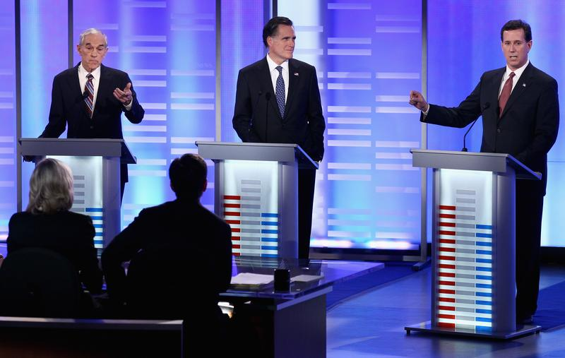 Ron Paul, Mitt Romney, and Rick Santorum participate in the ABC/Yahoo! News Republican Debate.
