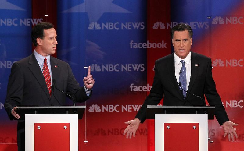 Republican presidential candidates participate during the NBC News Facebook Debate.