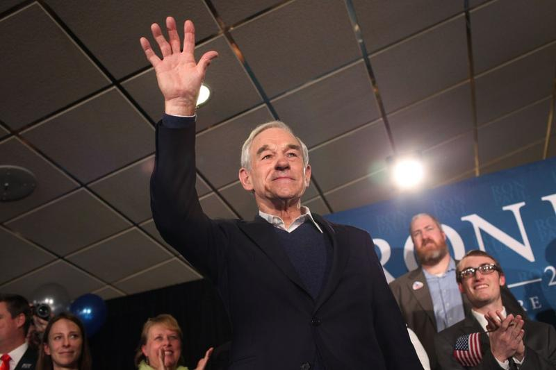 Republican presidential candidate, U.S. Rep. Ron Paul (R-TX), waves to supporters after speaking at his primary night campaign rally on January 10, 2012 in Manchester, New Hampshire.