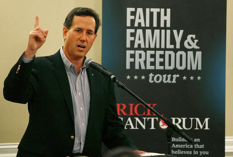 Rick Santorum speaks to supporters during a campaign stop in Columbia, South Carolina.