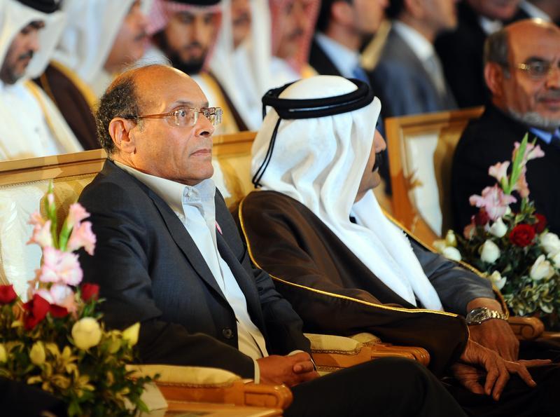 Tunisian President Moncef Marzouki, Qatar's Emir Sheikh Hamad bin Khalifa al-Thani and Tunisian Prime Minister Hamadi Jebali .