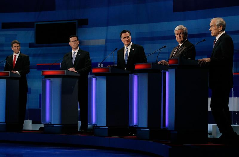 Republican presidential candidates participate in a Fox News, Wall Street Journal-sponsored debate.