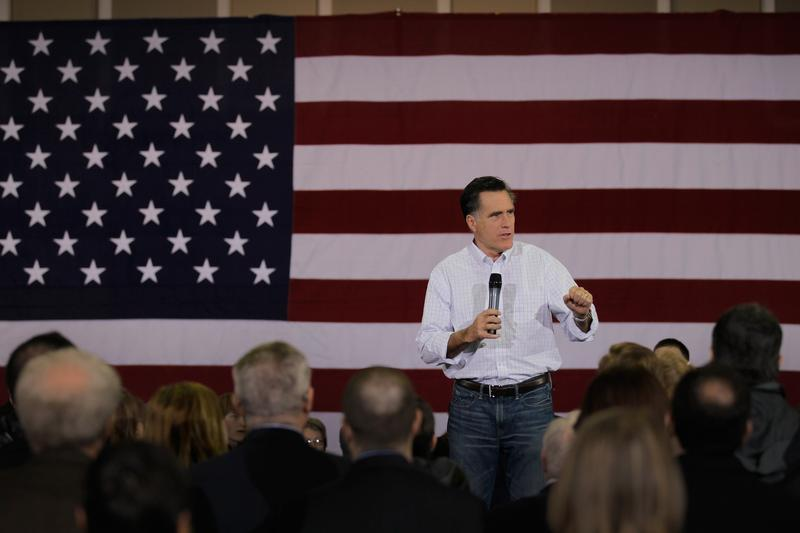 Former Massachusetts Gov. Mitt Romney speaks during a campaign rally in Florence, South Carolina.