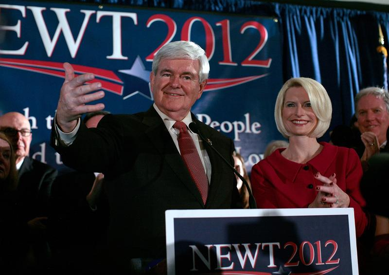 Former Speaker of the House Newt Gingrich speaks during a primary night rally in Columbia, South Carolina.