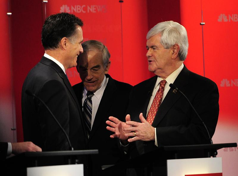 Republican presidential hopefuls Mitt Romney, Newt Gingrich, and Ron Paul.