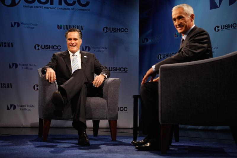 Republican presidential candidate Mitt Romney sits down with Univision's Jorge Ramos for a 'Meet the Candidate' forum hosted by the Hispanic Chamber of Commerce and Univision.