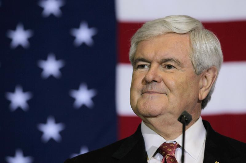 Newt Gingrich speaks at a Space Coast Town Hall Meeting.