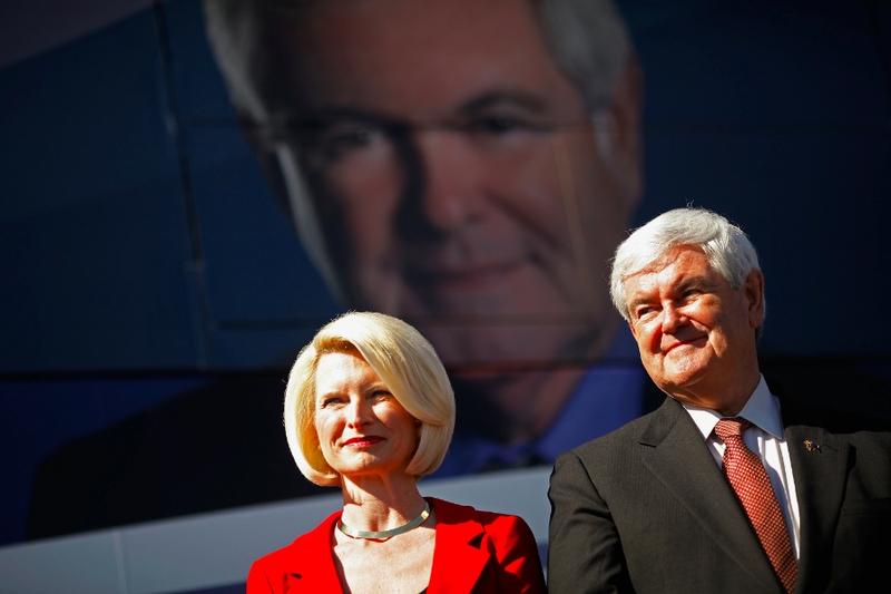 Newt Gingrich and his wife Callista Gingrich hold a campaign rally in Sumter County, Florida.