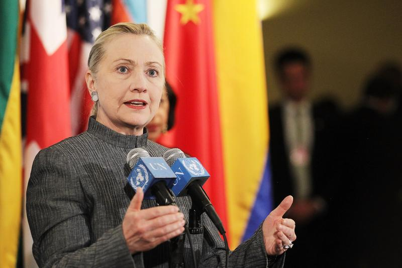 Secretary Clinton speaks outside a United Nations Security Council meeting on the crisis in Syria.