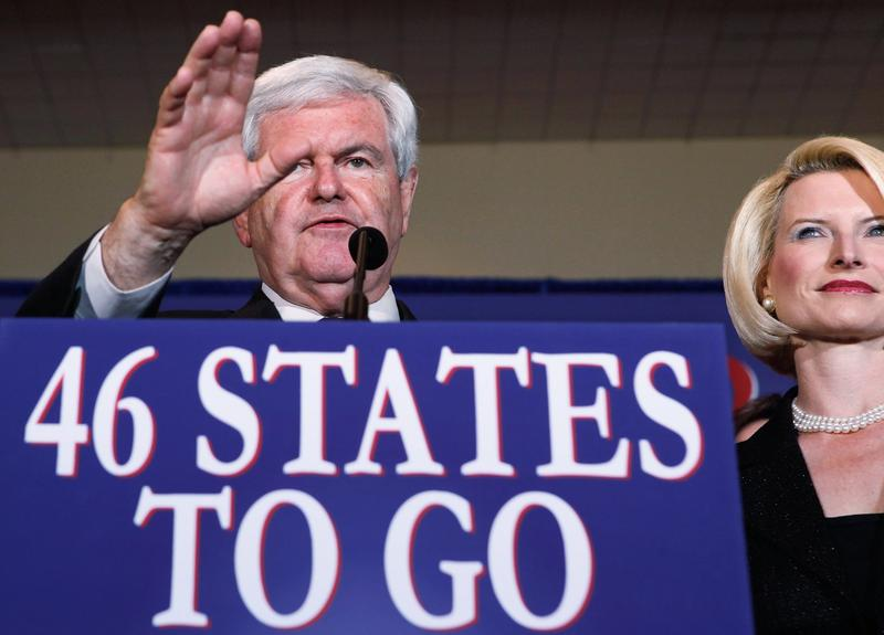 Newt Gingrich and his wife Callista Gingrich attend his Florida primary night party in Orlando.