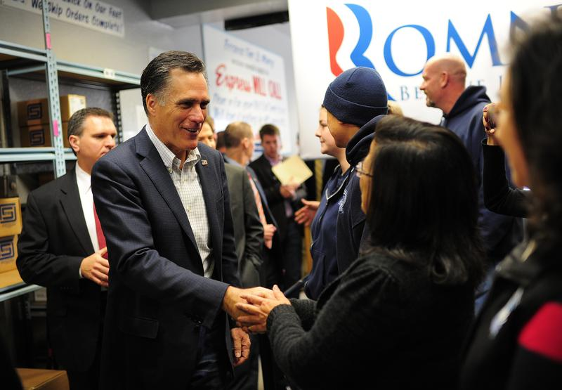 Former Massachusetts Gov. Mitt Romney campaigns in Sparks, Nevada, the day before the 2012 Nevada Republican Caucus.