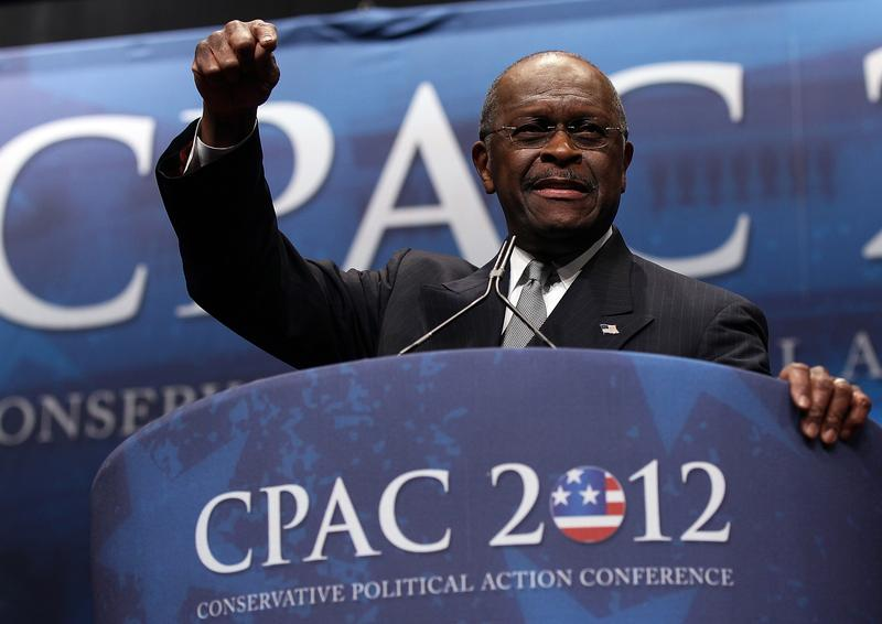 Herman Cain addresses the annual Conservative Political Action Conference.