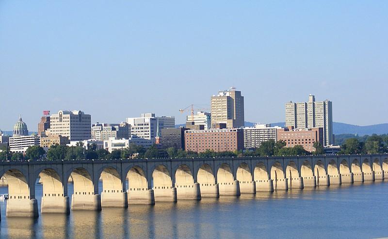 The Reading Railroad Bridge crossing the Susquehanna River into Harrisburg.