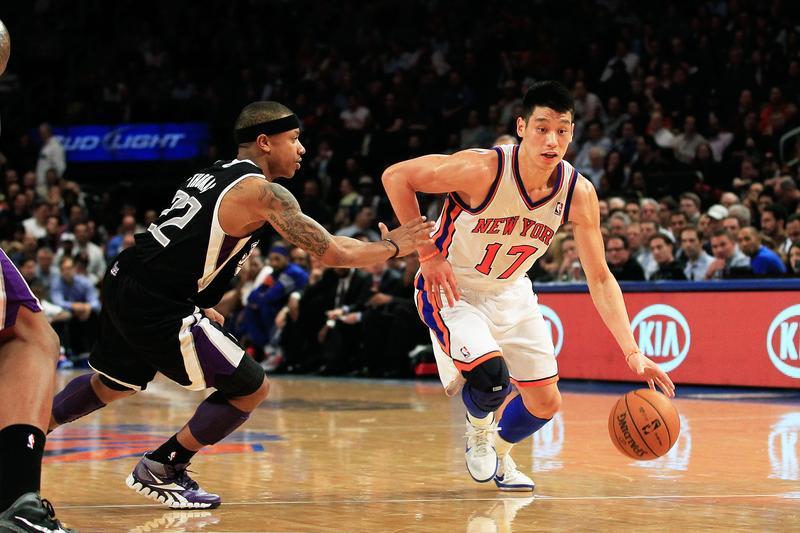 Jeremy Lin drives past Isaiah Thomas at Madison Square Garden.
