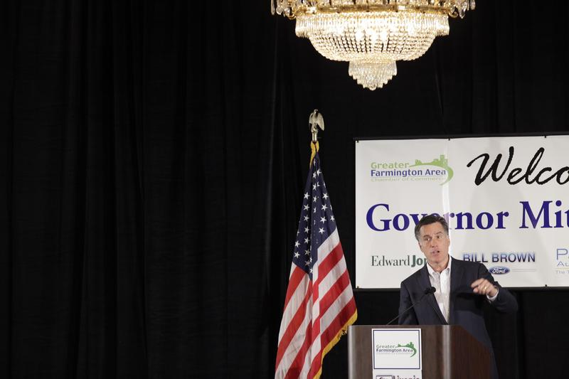 Mitt Romney speaks to supporters at The Greater Farmington Area Chamber of Commerce luncheon.