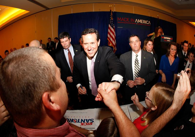 Republican presidential candidate, former U.S. Sen. Rick Santorum greats supporters after winning the both Alabama and Mississippi primaries on March 13, 2012 in Lafayette, Louisiana.