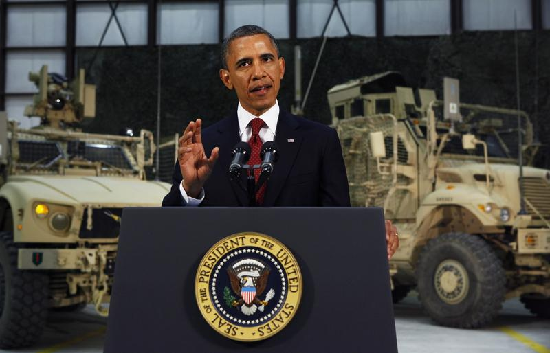 President Obama delivers an address on U.S. policy and the war in Afghanistan during his visit to Bagram Air Base.
