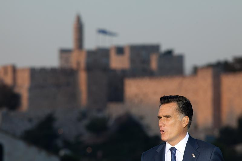U.S. Republican presidential candidate Mitt Romney delivers a speech outside the Old City on July 29, 2012 in Jerusalem, Israel