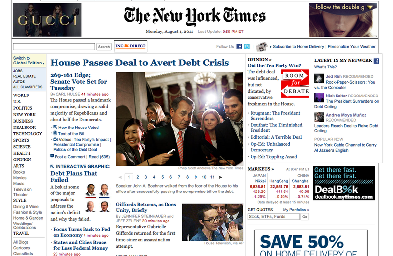 The Takeaway's Washington correspondent Todd Zwillich interviewing John Boehner, as seen on the homepage of The New York Times on August 1.