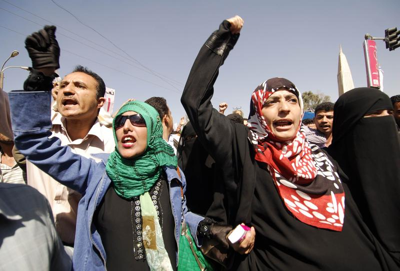 Yemeni women join some 2000 protesters in the capital Sanaa, on February 13, 2011, calling for the resignation of President Ali Abdallah Saleh, in power for 32 years.