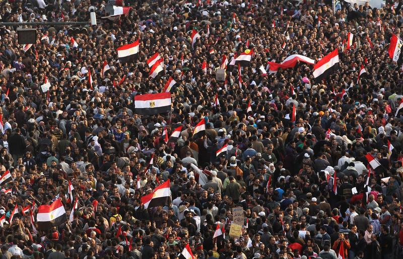Anti-government protesters fill Tahrir Square on February 11, 2011, in Cairo.