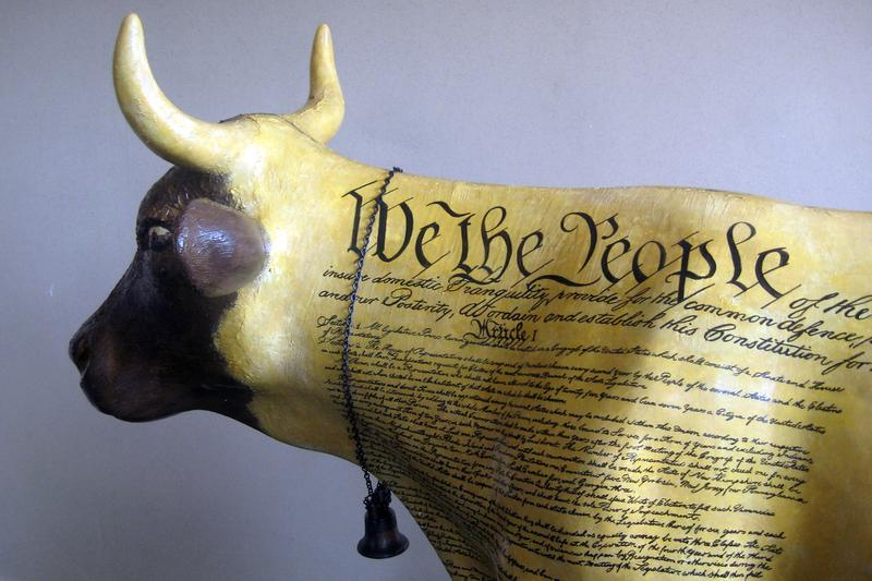 """""""Constance, the Constitution Cow"""" greets visitors to Philadelphia's Independence Visitors Center"""