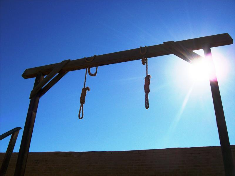 Two hangman's nooses and gallows behind the courthouse in Tombstone, Arizona