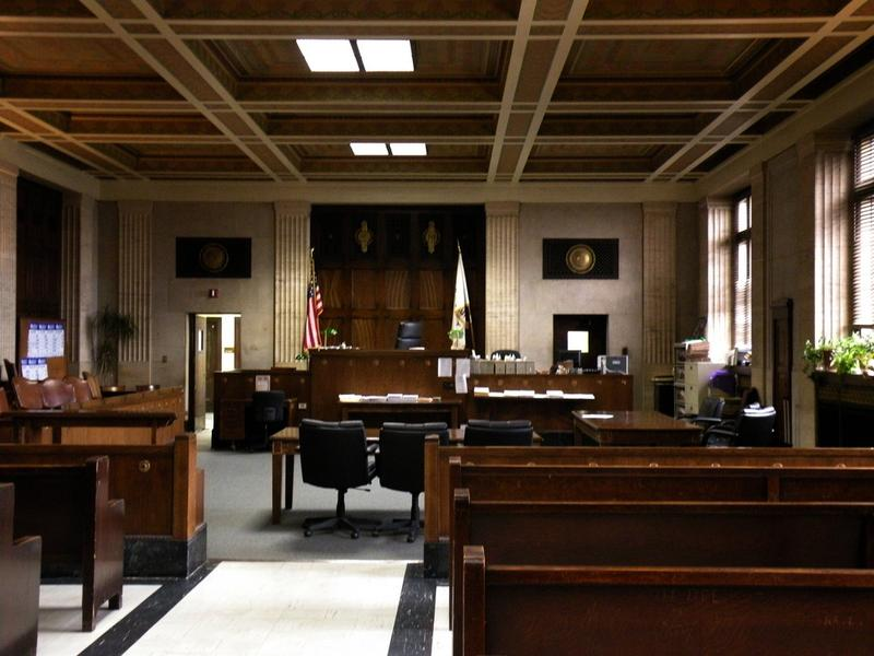 A courtroom in the Cook County Criminal Court building in Illinois.