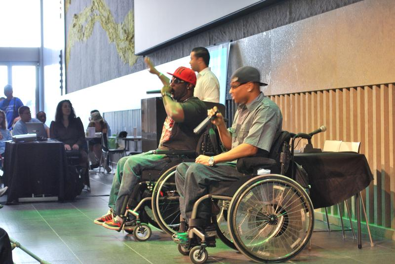 Hip-hop duo 4 Wheel City perform at the event celebrating 20 years of the Americans with Disabilities Act.
