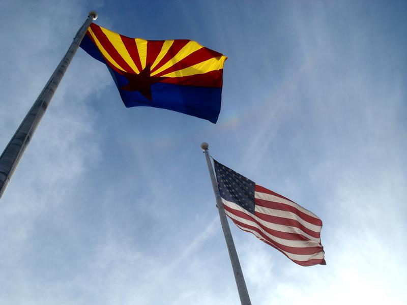 Flags of Arizona and the U.S.