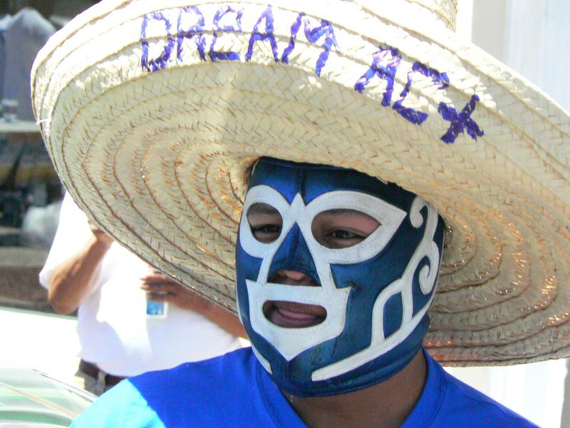 Protestor in Sombrero and Lucha Libre Mask, in May 2010