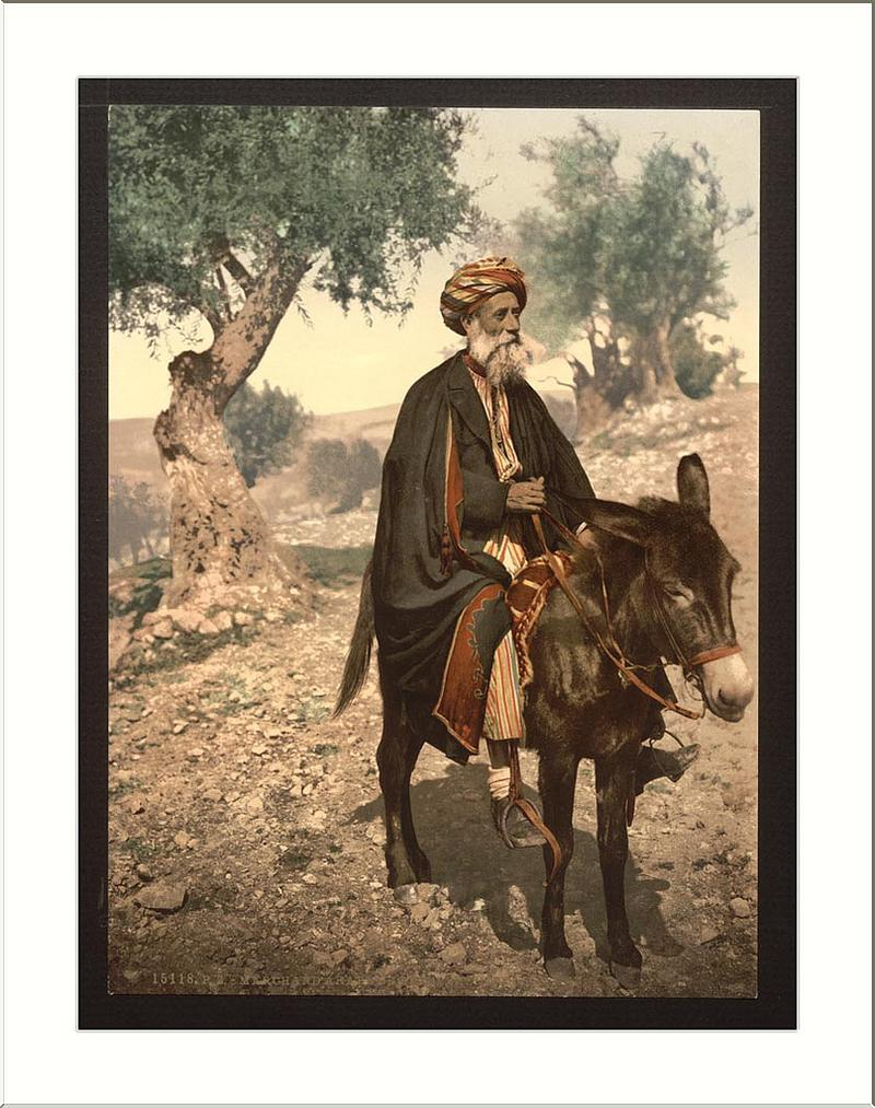 "Archive photo of ""Native of Bethlehem on his donkey, in the Holy Land"""