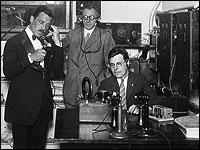 Station founder Grover A. Whalen and engineers on WNYC's first day of broadcast, July 8th, 1924.
