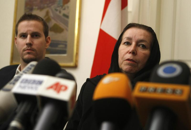 Christine Levinson, the wife of ex-FBI agent Robert Levinson, at the Swiss embassy in Tehran.