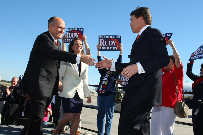 Texas Governor Rick Perry at a Rudy Giuliani presidential campaign stop in Florida in 2008.
