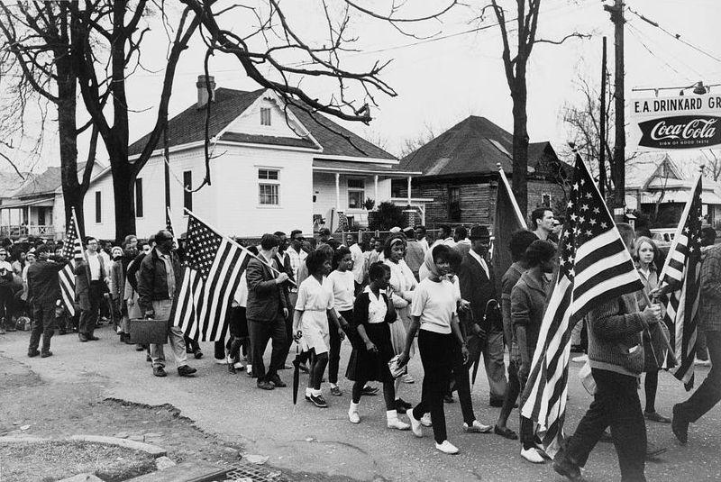 Civil rights marchers walked from Selma to Montgomery, Alabama in 1965.