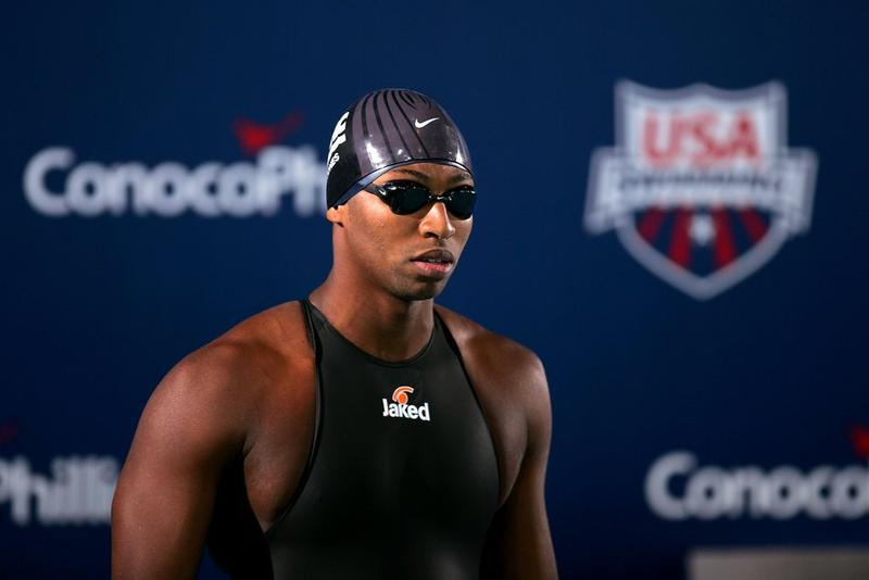 File: Cullen Jones stands on the blocks before swimming in the men's final of the 100 meter freestyle on July 10, 2009