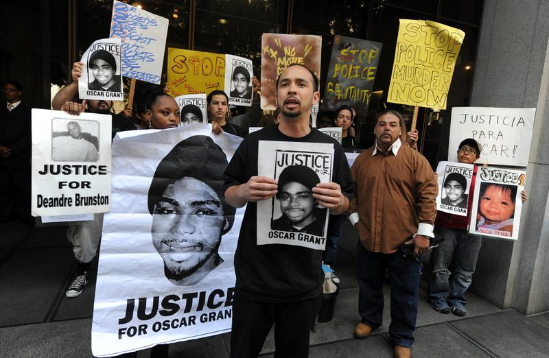 Aidge Patterson of the LA Coalition for Justice for Oscar Grant leads a protest rally outside a pretrial hearing for Johannes Mehserle at the Criminal Courts Building in Los Angeles on March 26, 2010.