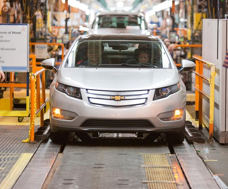 In this handout image provided by General Motors, The first pre-production Chevrolet Volt is on the assembly line at the Detroit-Hamtramck manufacturing plant March 31, 2010 in Detroit, Michigan.