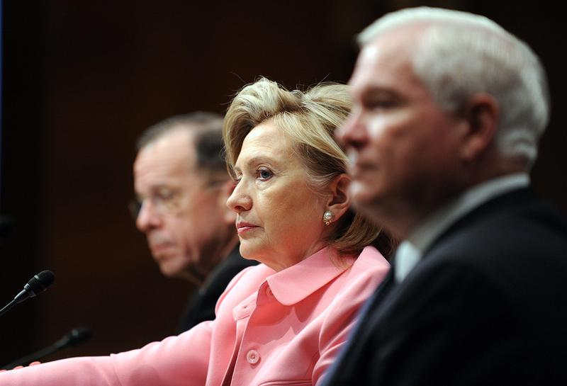 Secretary of State Hillary Clinton testifies before the Senate Foreign Relations Committee on the new START Treaty, with Chair of the Joint Chiefs Admiral Mike Mullen and Defense Sec. Robert Gates