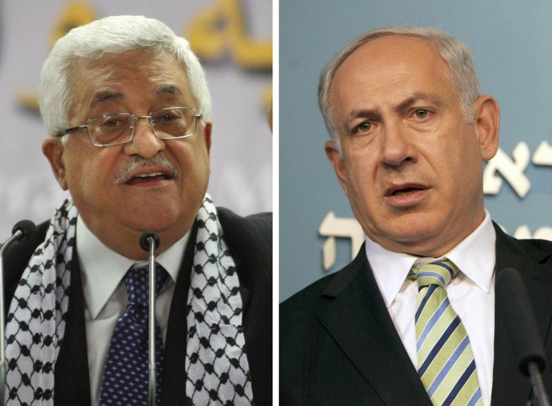 A combo of pictures shows Palestinian leader Mahmud Abbas (L) and Israeli Prime Minister Benjamin Netanyahu.